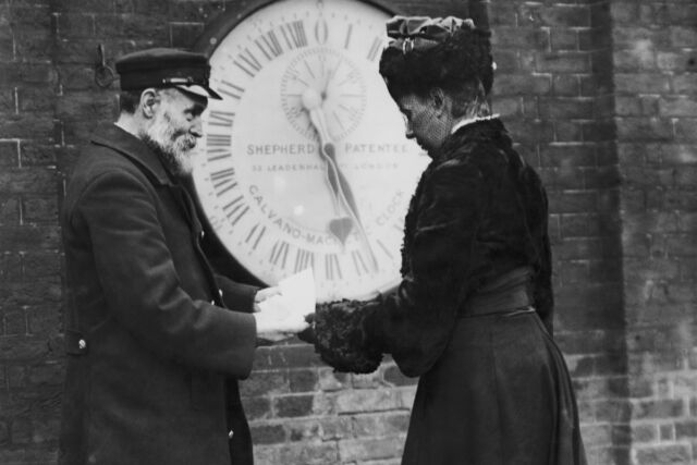 Elizabeth Ruth Belleville received a timekeeping certificate from an official at the Royal Greenwich Observatory, circa 1903.