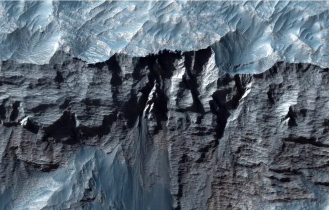Close-up view of Valles Marineris on Mars, the largest valley in the solar system.