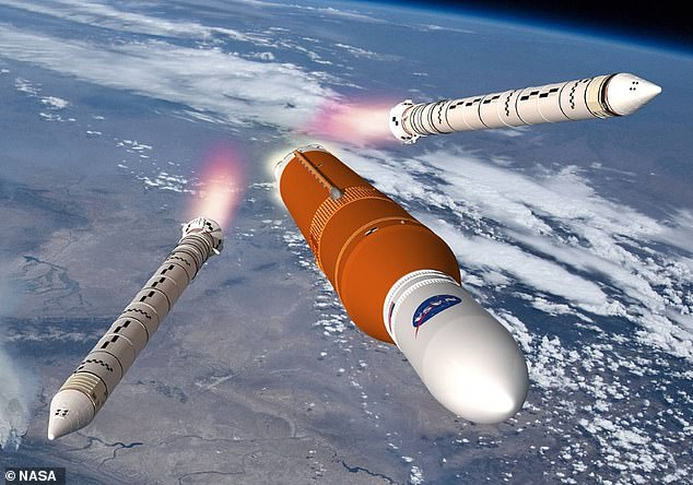 A hot fire test will show that the engines, tanks, fuel lines, valves, pressure system, and software work together as needed for the day of the launch.  Artist's impression of the SLS